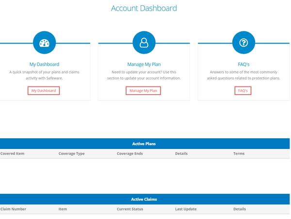 Screenshot of the dashboard.