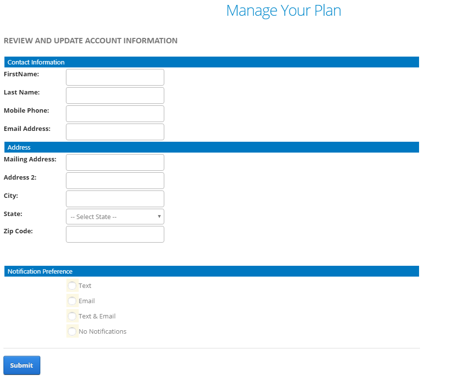 """Screenshot of the """"Manage Your Plan"""" page."""